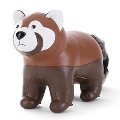 PANDA ROUX de Züny. Les animaux délirants de Zuny peuvent servir de décoration ou de serre-livres. Ils sont fabriqués à la main en similicuir de qualité.