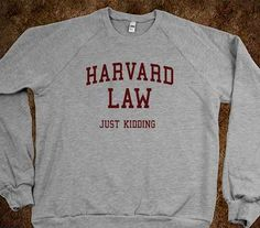 Add Some Humor to Your Closet with the Harvard Law Just Kidding Sweater trendhunter.com
