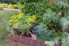 Reuse an old wheelbarrow like Sue Goetz did in her beautiful edible garden.