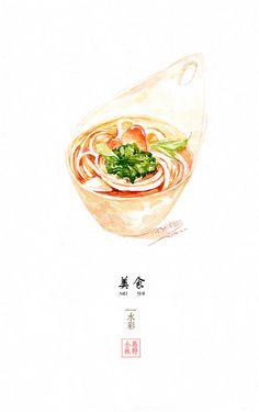 水彩美食 商业插画 插画 小马林野 - ...