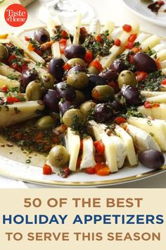 50 of the Best Holiday Appetizers to Serve This Season Italian Appetizers Easy, Best Holiday Appetizers, Holiday Fun, Appetizer Recipes, Holiday Recipes, Marinated Olives, Bacon Jam, Holiday Side Dishes, Crab Cakes