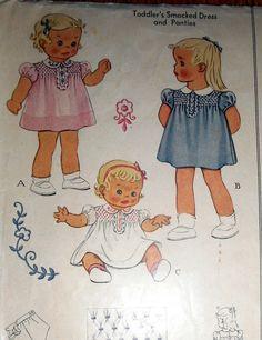 Vintage 1940s McCall TODDLER S SMOCKED DRESS & PANTIES Pattern SIZE 6 MONTHS !!   eBay