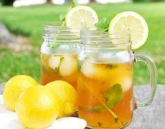 té helado con limón menta y durazno