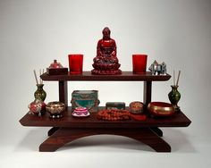 mediation table   Peruvian two tier puja table - meditation shrine - Table top model
