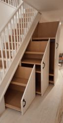 Home Stairs Design, Home Room Design, Home Interior Design, Small House Design, Staircase Storage, Storage Under Stairs, Desk Under Stairs, Living Room Under Stairs, Under Stairs Storage Solutions