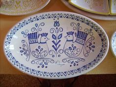 Here's a typical handmade plate which represents wildlife in Sardinia . Bellissima !