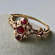 Your place to buy and sell all things handmade Pearl Jewelry, Jewelry Rings, Jewelry Accessories, Seed Pearl Ring, Eternity Rings, Art Nouveau Jewelry, Ancient Jewelry, Garnet Rings, Antique Jewellery