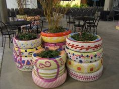 Cute recycle of old tires.. large flower pot