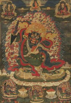 Tibetan Buddhist Thangka of Mahakala, Dharma Protector Tibetan Art, Tibetan Buddhism, Buddhist Art, Mahayana Buddhism, Buddhist Practices, Thangka Painting, Buddhist Traditions, Japanese Art, Asian Art
