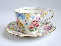Aynsley Teacup and Saucer - Vintage Summer Chintz Tea Cup and Saucer - Multi Color Floral Cup and Saucer SwirlingOrange11