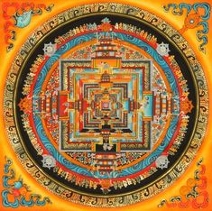 The Kalachakra Mandala means time wheel or time cycles. It's a complex system that involves the practice of using subtle energy from the body on the path to enlightenment. The intersections of the mandala represent the body, speech, mind and in the center wisdom and bliss.