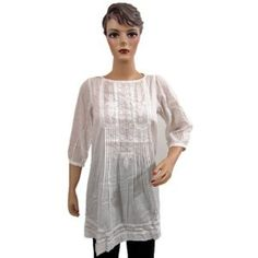 Womens Tops- Splashed White Embroidered Cotton Kurti Tunics Size Extra Small (Apparel)