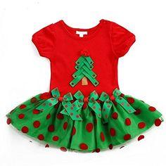 UWESPRING Baby Girl Christmas Santa Tree Short Sleeve Princess Dress 23T Red >>> Read more at the image link.