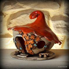 Keramik-Windlicht / Wichtelhaus für Haus & Garten © Kreativwerkstatt-Fleury www.fleury.de