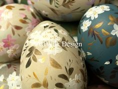 Hand painted on wooden eggs by ArtWilk.