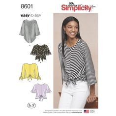 This easy-to-sew pullover tops for Misses feature tie waist and sleeve variations. Create a trendy look by adding trims to the sleeves. Find the pattern at Simplicity.com.