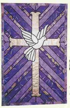Eternal Hope pattern by Lovenest Designs as seen at Quilters Treasure Quilt Square Patterns, Quilt Patterns Free, Embroidery Patterns, Stained Glass Quilt, Stained Glass Patterns, Stain Glass Cross, Cross Quilt, Church Banners, Easter Art