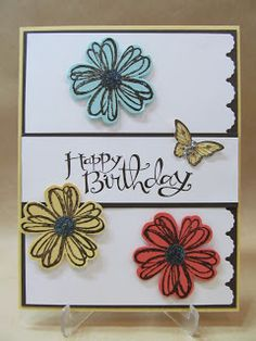 Savvy Handmade Cards: Punched Pansy Birthday Card
