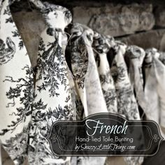 Welcoming fall with whites - and a hand-tied French toile bunting. By SnazzyLittleThings.com
