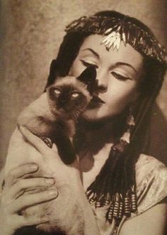 Vivien Leigh and her Cat on the set of Caesar and Cleopatra c.1945viawww.catsfotos.com