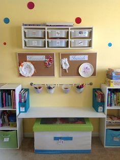 Craft/school supply storage. Desk in middle instead of bench.