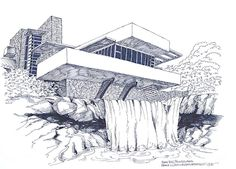 Frank Lloyd Wright Falling Water Architecture Drawing by Robert Birkenes Architecture Concept Drawings, Famous Architecture, Architecture Sketchbook, Falling Water Architecture, Casa Kaufmann, Falling Water House, Falling Waters, Falling Water Frank Lloyd Wright, House Drawing