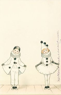 illustration Pierrot and Pierettte Pierrot Costume, Pierrot Clown, Vintage Clown, Vintage Halloween, Image Cirque, Circo Vintage, Cute Clown, Send In The Clowns, Illustrations Posters