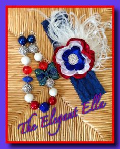 4th of July Red White and blue Satin Cabbage by TheElegantElla, $34.00