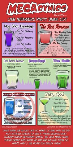 Superhero-ing is thirsty work. Even more Avengers Cocktails, from That's Nerdalicious via Neatorama