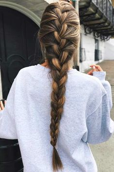 French Braid For Long Highlighted Brown Hair #longhair #brownhair #frenchbraid � Click to see our collection of braided hairstyles that are suitable for any hair type. � See more in our blog!