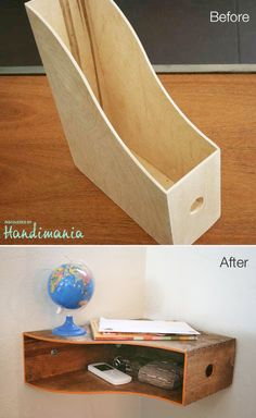 Catch-all shelf made of wooden magazine holder