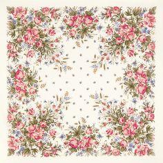 "Платок шерстяной с шелковой бахромой ""Утренний сад"", вид 2, 135х135 см"