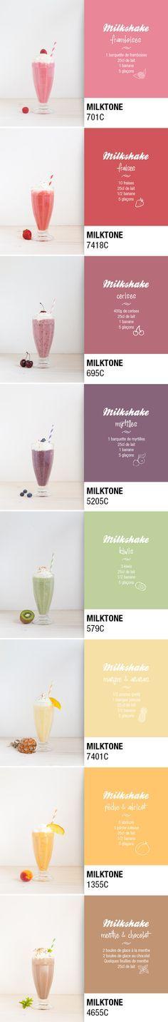 Palette de Milkshakes / Pantone Milshakes ;) . Je remplace le lait par un lait végétal et le sucre par un sucre intégral.