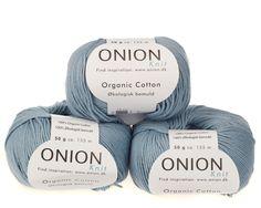 Lys blå økologisk bomuldsgarn fra Onion - 35 kr. per 50 gram