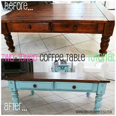 diy farmhouse coffee table makeover. i could do this with the