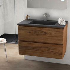 Cordoue, meuble salle de bain bois noyer 81 cm, vasque pierre 3 finitions