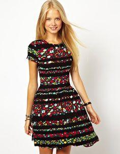 ASOS Skater Dress In Floral Stripe