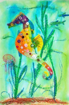Seepferdchen mit Wasserfarben und Oelkreiden gestalten. Gundschule