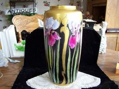 German Alka Kunst Alboth Kaiser Hand Painted Purple Iris large Vase