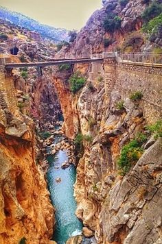 "A path that's nailed to the sides of a narrow gorge in El Chorro, in the province of Málaga, Spain. It's known as ""the world's most dangerous walkway"" - YIKES!"
