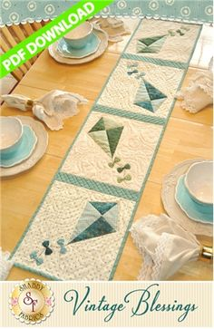 "Vintage Blessings Table Runner - July - PDF DOWNLOAD: THIS PRODUCT IS A PDF DOWNLOAD that must be downloaded and printed by the customer. Create a darling table runner using your scraps! This Shabby Fabrics Exclusive finishes to 12 1/2"" x 53"" and features appliqued kites!"
