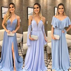 Spaghetti Straps Modest Prom Dress with Split Long Backless Prom Gown Gala Dresses, Homecoming Dresses, Evening Dresses, Bridesmaid Dresses, Wedding Dresses, Long Dresses, Vestidos Azul Serenity, Pretty Dresses, Beautiful Dresses
