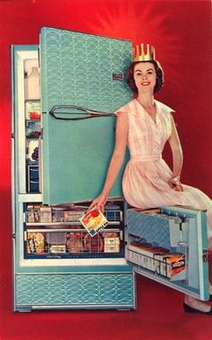 For the home: The Frigidaire Queen. Excuse me Frigidaire Queen. I don't think that door was meant to double as a chair. You are making me nervous. Retro Ads, Vintage Advertisements, Vintage Ads, Vintage Images, Retro Advertising, Retro Humor, School Advertising, Vintage Humor, Vintage Vibes