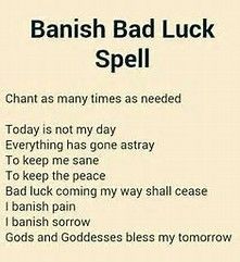 Majick  Banish Bad Luck Spell