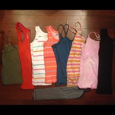 Bundle of 9 tank tops. Size small ❤️ Bundle of 9 tank tops. Size small ❤️ brands are rue 21, Gap, Decree, Old Navy, Sonoma, and 2 of them are old navy large (kids) fits adult small Old Navy Tops Tank Tops