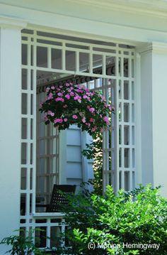 Porch framing trellis for the jasmine to climb for Craftsman style trellis