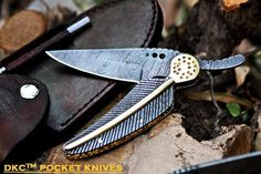 DKC-111 ARROW CLASSIC Damascus Steel Folding Pocket Knife 6' Folded 8.5' Long 3' Blade10oz High Class Hand Made DKC Knives  *** Hurry! Check out this great product : Camping tools