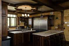 Beautiful Discovery Dream Homes Timber Frame Kitchen in our Sandy Beach Home  #Kitchen #SandyBeach #TimberFrame #Custom #DiscoveryDreamHomes