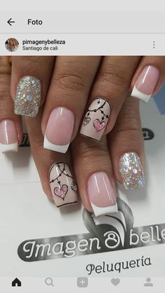 65 Happy Valentines Day nails for your romantic day .- 65 Happy Valentines Day nails for your romantic day - Gorgeous Nails, Pretty Nails, Cute Nails, French Pedicure, French Nails, French Toes, French Nail Design, Nails Polish, Pink Nails
