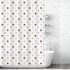 Add a bold touch to your bath decor with the Traveling Twins Pink Flamingos Shower Curtain. Crafted in easy-care water-resistant polyester, it makes a chic, playful statement. Flamingo Shower Curtain, Pink Shower Curtains, Tropical Bathroom, Tropical Decor, Shower Liner, Budget Bathroom, Bathroom Ideas, Bath Decor, Pink Flamingos